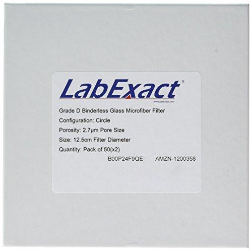 LabExact 1200358 Grade D Glass Microfiber Filter Binderless Borosilicate Glass 27µm 125cm Pack of 100
