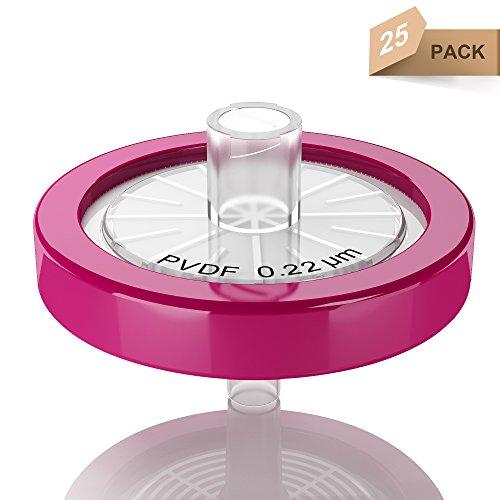 Syringe Filters PVDFPolyvinylidene fluride Hydrophobic 25 mm 022 um Non Sterile 25pk by Ks-Tek