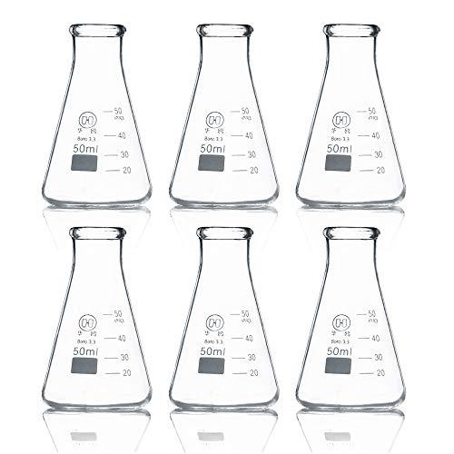 Huaou 50ml Borosilicate 33 Glass Laboratory Erlenmeyer Conical Flask Pack of 6