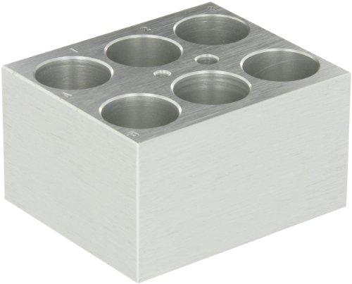 Labnet D1125 Aluminum Dry Bath Block for AccuBlock Digital Dry Bath Holds 6 x 25mm Tube