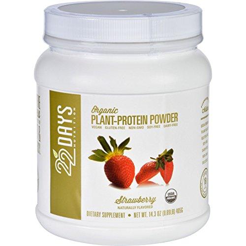 22 Days Nutrition Plant Protein Powder - Organic - Strawberry - 143 oz