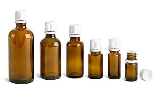 15 ml Amber Glass Euro Dropper Bottles w White Tamper Evident Caps Orifice Reducers 48 Bottles