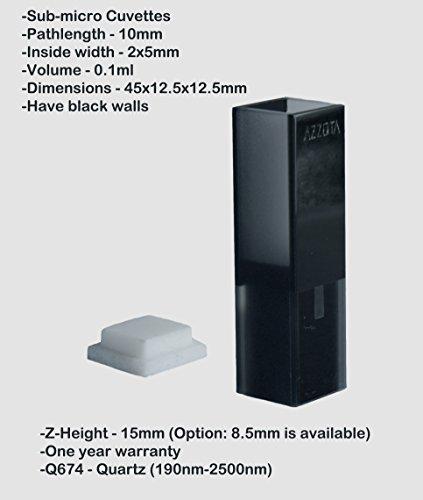 Azzota 10mm Pathlength 010ml Sub-micro Cuvettes - Z-height 15mm - UV Quartz 190nm-2500nm