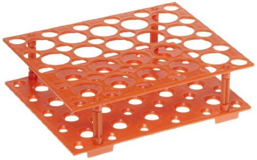 Heathrow Scientific HD24306 Orange Polypropylene Snap Together Conical Tube Rack 207mm Length x 171mm Width x 60mm Depth