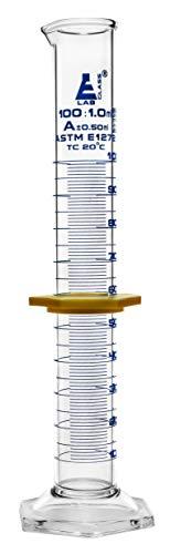 Measuring Cylinder 100ml - ASTM Class A Tolerance ±050ml - Protective Collar Hexagonal Base - Blue Graduations - Borosilicate 33 Glass - Eisco Labs