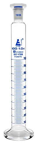 Measuring Cylinder 100ml - Class B - 1926 Polypropylene Stopper - Round Base Blue Graduations - Borosilicate Glass - Eisco Labs