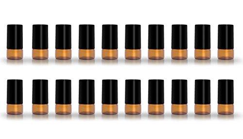 20 Pack Set 1ML Mini Amber Sample Roll Glass Bottles for Essential Oils Roller Refillable Perfume Roll Bottle