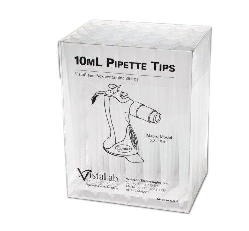 VistaLab 4058-6100 Micro Pipette VistaClear Tip 10mL Volume Box of 35
