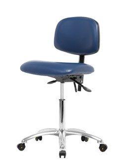 Stellar Scientific - Vinyl ESD Clean Room Chair Chrome - Medium Bench Height 22-29