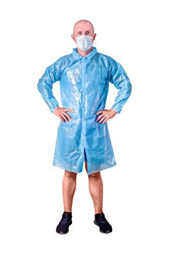 ABC Blue Lab Coat Unisex Disposable polyethylene Labcoat Large Size Liquid-Proof Workwear Protective Non-Woven Visitor Coat PE Coated Laboratory Coats for Men Women Lightweight Breathable
