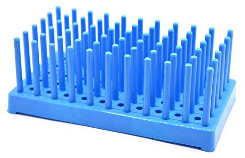Blue Plastic Test Tube Peg Drying Rack Holds 50 16mm Test Tubes - Eisco Labs