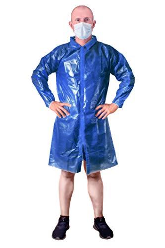 Dark Blue Lab Coat Unisex disposable polyethylene labcoat 3XL size Liquid-proof workwear Protective non-woven visitor coat PE Coated Laboratory Coat for Men Women Lightweight Breathable Waterproof