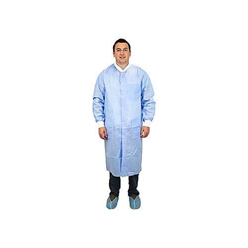 Safety Zone DLBL-SM-SMS50 50 Gram SMS Polypropylene Lab Coat with Knit Wrist Small Blue Pack of 30