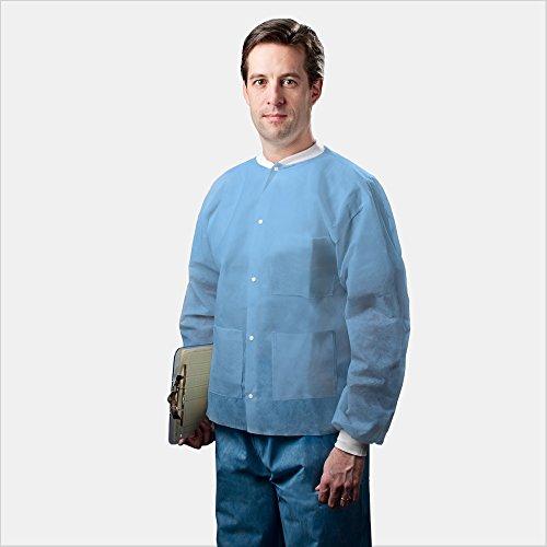 Tronex Multilayer Spunbond Lab Jackets Knitted CollarCuffs Pockets Fluid Resistant Blue 30 Large