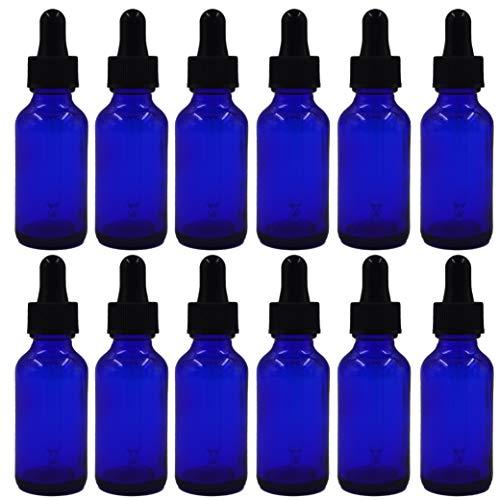 U-Pack 1oz Cobalt Blue Boston Glass Bottles with Glass Eye Dropper Dispenser for Essential Oils Kitchen Tools Chemistry Lab Chemicals Colognes Perfumes 12 Pack Cobalt Blue