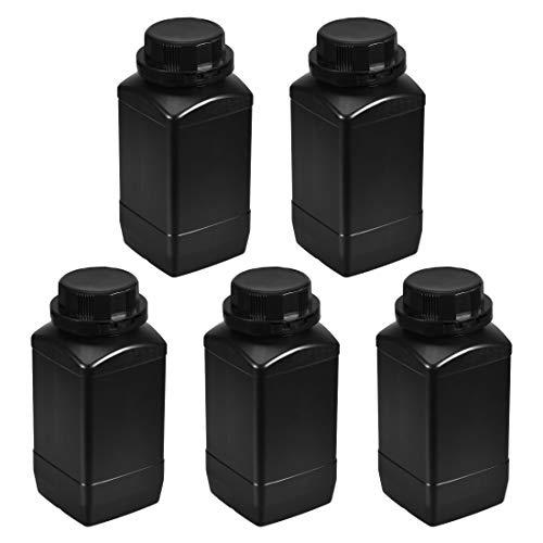 uxcell Plastic Lab Chemical Reagent Bottle 1000ml 34oz Wide Mouth Sample Sealing LiquidSolid Storage Bottles Black 5pcs