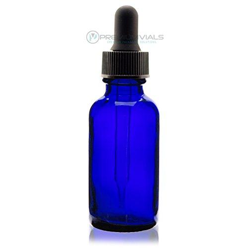 1 Oz 30 ml BLUE Boston Round Glass Bottle wDropper - Pack of 12