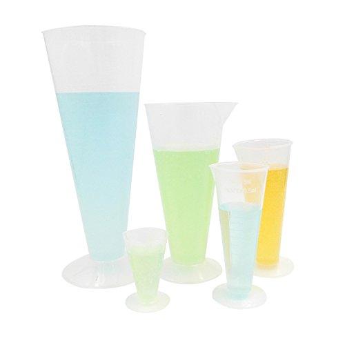 Kalevel 5pcs 25ml 50ml 100ml 250ml 500ml Plastic Graduated Cylinder Beakers Measuring Cup Polypropylene Beaker Measuring Cups Plastic for Kitchen Laboratory Science Project - Triangular Set of 5