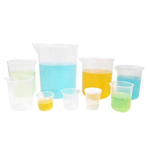 Kalevel 9pcs Plastic Beakers Measuring Cups with Spout Plastic Graduation Cups Graduated Cups Plastic Beaker Measuring Beaker for Liquid Measuring Tools Polypropylene Measuring Cup 200ml-1000ml