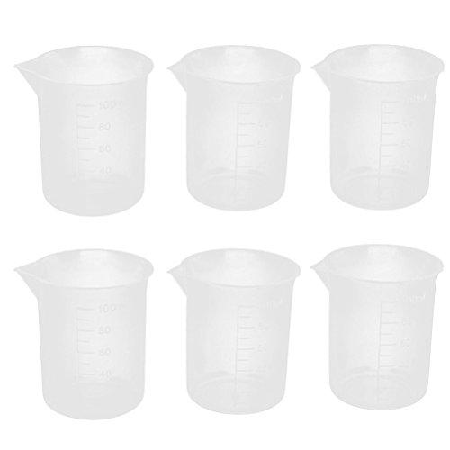 UEETEK 6pcs 100mL Plastic Beakers Measuring Cups Lab Liquid Container