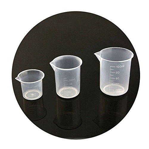 eMylo Set of 3 Measuring Cup 25ml50ml100ml Capacity Cup Graduated Measuring Beaker CupPlasticTransparent