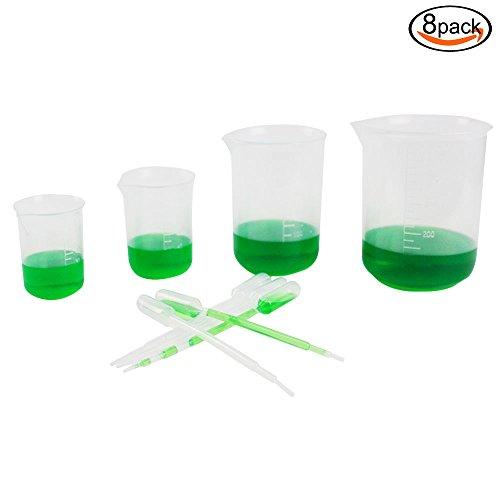 DEPEPE 8pcs Clear Plastic Measuring Beakers 500ml 250ml 100ml 50ml with 20pcs 1ml Pipettes