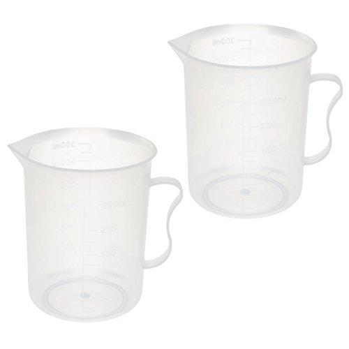 uxcell 2 Pcs Kitchen Lab 250mL Plastic Measuring Cup Jug Pour Spout Container w Handle