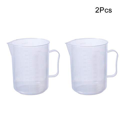 Othmro 2Pcs Measuring Cup Transparent Plastic Polypropylene with Handle 1000mL Graduated Beaker