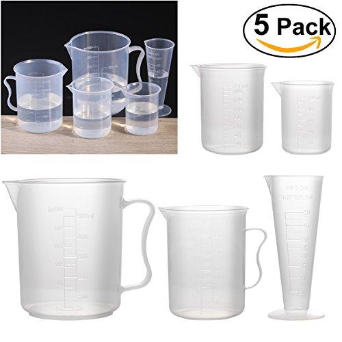 UEETEK Plastic Measuring Cup Beaker Labs Graduated Beakers 50ml 100ml 150ml 250ml 500mlSet of 5
