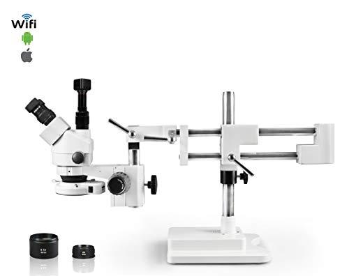 Vision Scientific Simul-Focal Trinocular Zoom Stereo Microscope 10x Widefield Eyepiece 07X-45X Zoom Range 7X-45x Magnification Range Double Arm Boom Stand 5MP WiFi Digital Camera