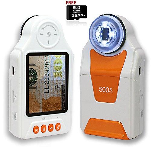 Indigi Digital Mobile Pocket Magnifier Microscope 500x ZOOM w 27 Color LCD FREE 32GB
