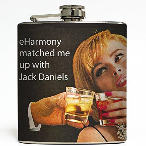 eHarmony Match - Jack Daniels Flask - Liquid Courage Flasks - 6 oz Stainless Steel Flask