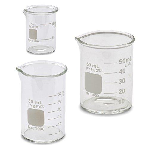 Corning Pyrex 1000 Griffin Low Form Micro Glass Beaker Set - 3 Sizes - 10ml 30ml 50ml