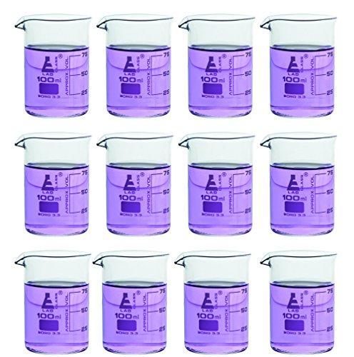 12 Pack Beakers 100ml - Borosilicate Glass Low Form - 25ml Graduations - Eisco Labs