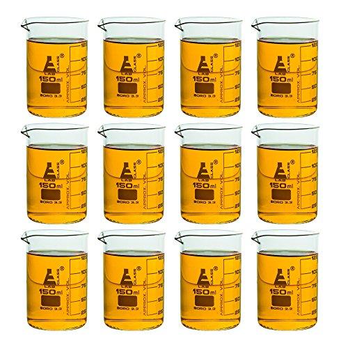 12 Pack Beakers 150ml - Borosilicate Glass Low Form - 125ml Graduations - Eisco Labs