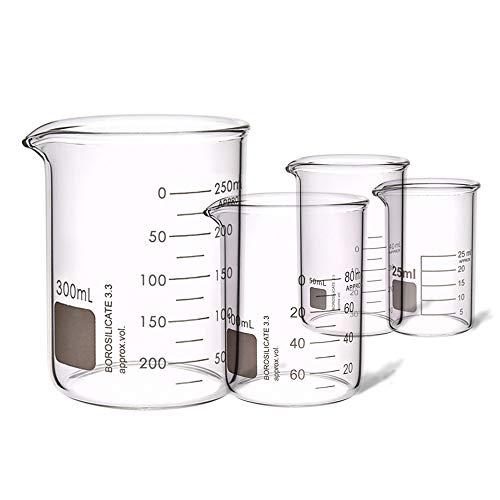 4PCS Heavy Duty Low Form Graduated Beakers Measuring Beaker Set Borosilicate Beaker Lab Beaker Industrial Scientific labware Beakers Laboratory Beaker Home Kitchen 25ML 50ML 100ML 300ML 4