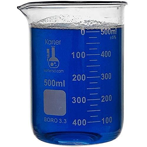 500ml Beaker Low Form Griffin Borosilicate 33 Glass Double Scale Graduated Karter Scientific 213D26