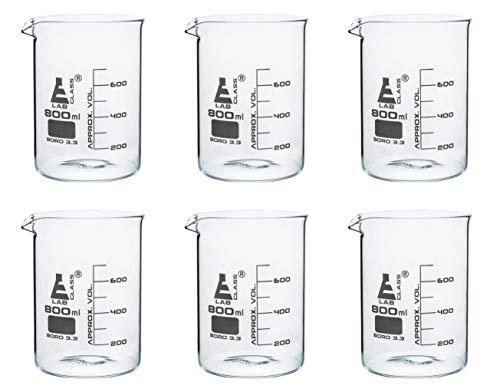 6 Pack Beakers 800ml - Borosilicate Glass Low Form - 100ml Graduations - Eisco Labs