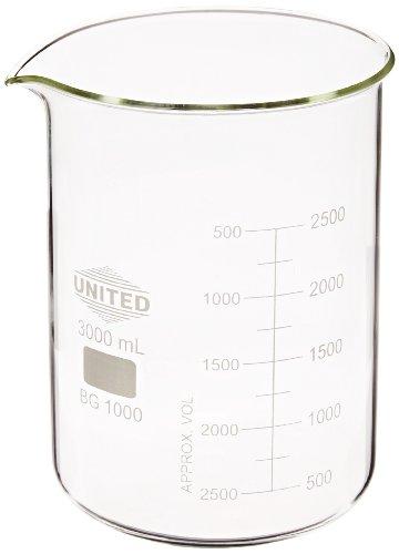 United Scientific BG1000-3000 Borosilicate Glass Low Form Beaker 3000ml Capacity