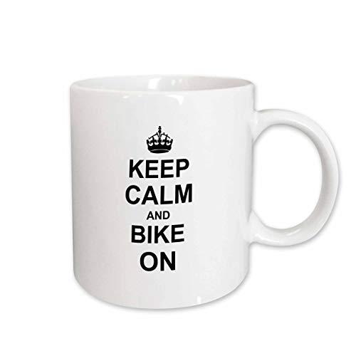3dRose mug_157647_2 Keep Calm and Bike on Black Motivational Motivating Carry on Biking Cycling Bicycle Biker Cycler Ceramic Mug 15-Ounce
