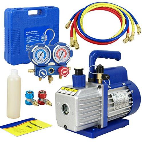 F2C 35CFM 14HP HVAC Air Rotary Vacuum Pump Kit With AC Refrigeration Gauge Set R410a