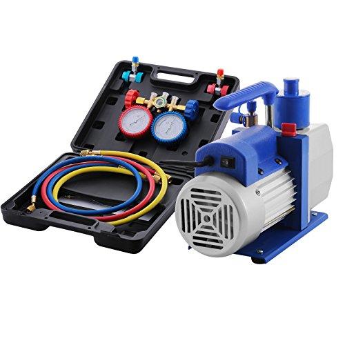 VEVOR Vacuum Pump Kit HVAC Single Stage AC Vacuum Pump 48CFM 13HP Air Vacuum Pump with 4 Valve AC Manifold Gauge Set Refrigerant Air Conditioning 48CFM13HP 4Valve