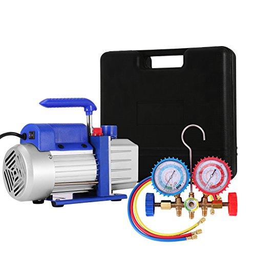 VEVOR Vacuum Pump Kit HVAC Single Stage AC Vacuum Pump 4CFM 13HP Air Vacuum Pump with 4 Valve AC Manifold Gauge Set Refrigerant Air Conditioning 4CFM13HP 4Valve