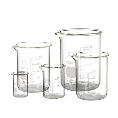 Borosilicate Glass Measuring Beaker Set 10ml 25ml 50mL 100ml 250ml Pack of 5