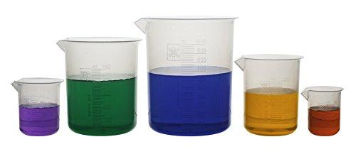 hBARSCI HBARBEAKERSET Laboratory Plastic Beaker Made of Premium Polypropylene with Raised Graduations 50 mL 100 mL 250 mL 500 mL and 1000 mL Autoclavable Set of 5