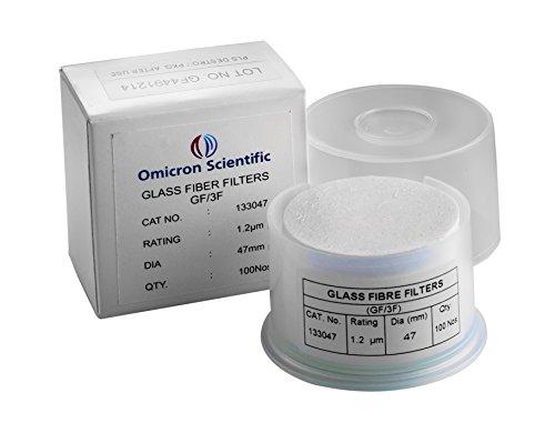 Omicron 133047 Borosilicate Glass Fiber Binder Free Filter 12 μm 47 mm Pack of 100