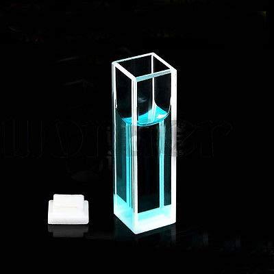 QWERTOUR 35ml 10mm Path Quartz Cuvette Cell with Lid for Fluorescence Spectrometer