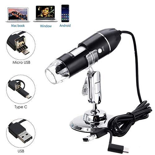 USB Digital Microscope JUN-L 3 in 1 Handheld 50X-1600X Magnification Endoscope 8 LED Mini Video Camera for Windows 7810 Mac Linux Android