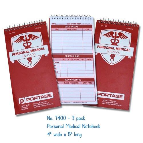 Personal Medical Notebook  Logbook 3 Pack