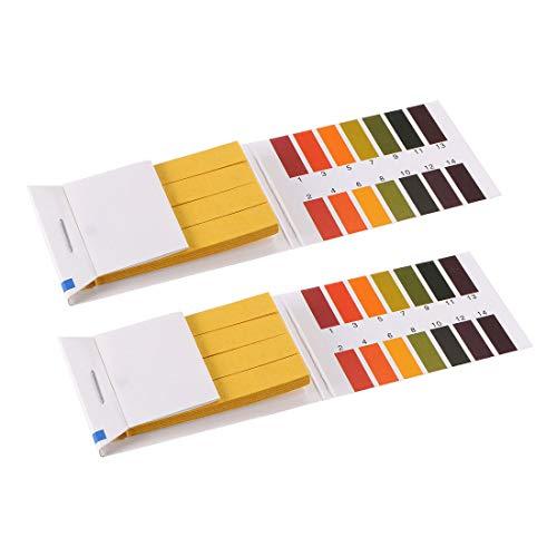uxcell PH Test Strips 1-14 Indicator Paper Lab Litmus Tester 80in1 Kit for Water Food Pool Aquarium Testing Alkaline Acid 2pcs